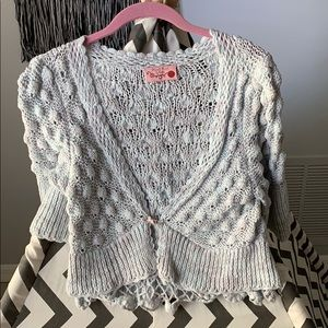 Hand Knit by Dollie gray cropped shrug
